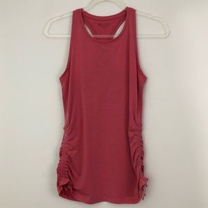 Athleta Side Ruched Racerback Gym Tank Top Pink
